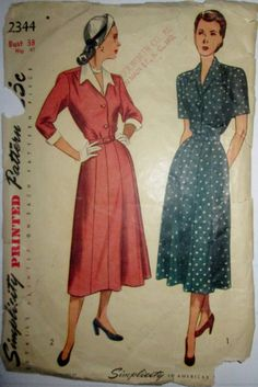 Simplicity 2344 Womens WWII Era Vintage Dress by Denisecraft, $15.99