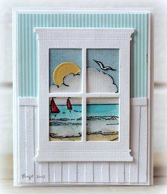 cards using spellbinders window die Cute Cards, Diy Cards, Rena, Beach Cards, Retirement Cards, Window Cards, Hearth And Home, Die Cut Cards, Scrapbook Cards