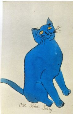 "Andy Warhol (1928-1987) - ""One Blue Pussy"" -  offset lithograph with extensive hand-colouring in watercolour, 1954 (included in the book ""25 Cats Named Sam And One Blue Pussy"")"