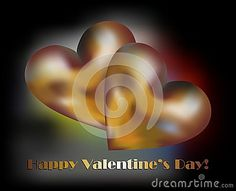 Golden hearts between colorful lights and happy valentine's day wishes on black background.
