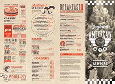 Use menus as placements Menu Restaurant, Menu Bar, Diner Menu, Restaurant Design, Restaurant Identity, Vintage Diner, Retro Diner, Vintage Menu, 1950s Diner