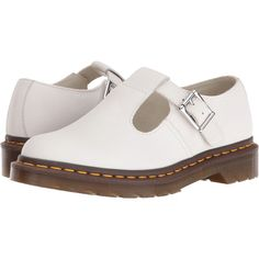 Dr. Martens Polley T-Bar Mary Jane (White Virginia) Women's Maryjane... ($60) ❤ liked on Polyvore featuring shoes, white, white shoes, leather upper shoes, white strappy shoes, white mary jane shoes and t strap mary janes