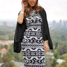 Express Fitted Tribal Dress Express Fitted Tribal Dress size M. Goes past the knees. Black and dark grey with a tribal print all over. Worn 2 times. No stains rips or tears.   ❌NO TRADES❌  ⭐️Send me your best OFFER with the offer button if you don't ❤️ my price⭐️ Express Dresses