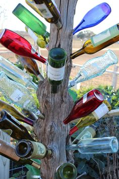 """Phil and I saw this """"wine tree"""" idea at OBX! Wine Tree, Wine Bottle Trees, Wine Bottle Art, Wine Bottle Crafts, Glass Bottle, Garden Whimsy, Garden Junk, Garden Sheds, Bottle Garden"""