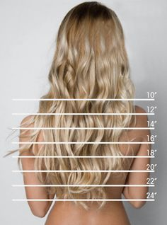 Hair Length Chart. I think I'm at 24, so I could cut off 10 and donate that to Locks of Love! But then again, That would involve cutting my hair, which I really have grown fond of....