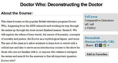 A course about The Doctor offered at UC Berkeley. My college plans may have just changed...