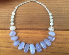 Periwinkle Blue Chunky necklace, Blue Chalcedony and Moonstone Necklace, Blue Chunky Gemstone Necklace, Blue and White Gemstone Necklace - Edit Listing - Etsy