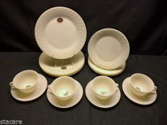 16 pc Fire King IVORY SWIRL Unused MINTY Marked Dinnerware Set with LABELS