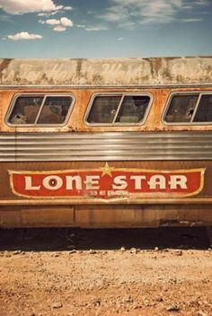 beat up old bus, with a Texas Lone Star ad sign.(for all my Texas friends! Corporate Design, Simplon Orient Express, Only In Texas, Texas Forever, Loving Texas, Texas Pride, Lone Star State, Texas Homes, Stars At Night