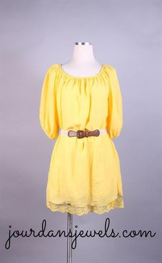 Super simple, yet stunning yellow dress adorned with a belt! Wear it as is or with some leggings underneath.    {Please allow up to 2 weeks to receive.}