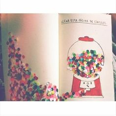 colorful hole punch confetti across a journal page Wreck This Journal, My Journal, Journal Pages, Journals, Create This Book, Diy And Crafts, Paper Crafts, Bullet Journal Notebook, Drawing Journal