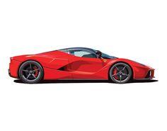 'Ferrari La Ferrari Illustration' Art Print by jaminak Automotive Solutions, Automotive Design, Automotive Logo, Car Side View, Instruções Origami, Jeep Stickers, Car Backgrounds, Top Luxury Cars, Gt Cars