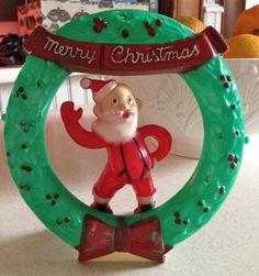 Vintage Plastic Waving Santa RARE Rosbro by santashauntedboot, $125.00