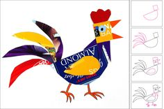 Recycled Rooster. Give template for shapes (half circle, square, curvy feather). Outline on opened boxes (cereal, pasta, etc). Hand cut beak, crown, feet. Glue onto large sheet of paper.