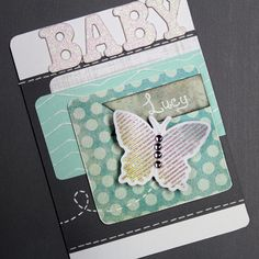 Create this beautiful butterfly baby shower card! Mix patterns and add dimentiont o your cards. www.craft-e-corne... #cardmaking #crafting #papercrafts