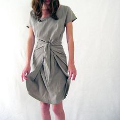 khaki draped wrap dress