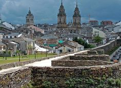 Roman walls of Lugo. The original name of the city was Lucus Augustus. These are the world's only roman walls, which preserve complete on their length.