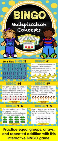 Looking for a fun way to practice basic multiplication with your whole class?  This Multiplication BINGO Game contains 24 multiplication question game cards to help students practice solving and interpreting multiplication problems using equal groups, repeated addition, and arrays (3.OA.A.1 and 3.OA.A.3). This BINGO multiplication game works great as a whole class or small group.