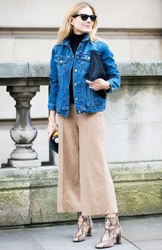 love this look // jean jacket, zara culottes, and topshop boots Fashion Me Now, Classy Fashion, Fashion Fashion, Fashion Dresses, Fashion Shoes, Winter Fashion, Minimal Fashion, Fashion Spring, Fashion Trends