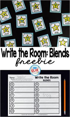Write the Room Blends is the perfect literacy center that combine movement and learning, while having fun learning. This free printable is perfect for preschool, kindergarten, and first grade students. First Grade Freebies, Kindergarten Freebies, Kindergarten Centers, Kindergarten Literacy, Teacher Freebies, Phonics Blends, Blends And Digraphs, Phonics Chart, Centers First Grade