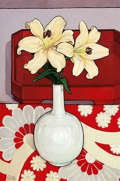 Criss Canning (b.1947) — Lilies in Mother of Pearl Vase, 1999  (464x700)
