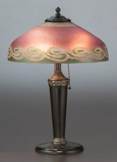 American Painted Glass & Metal Table Lamp, c. 1915