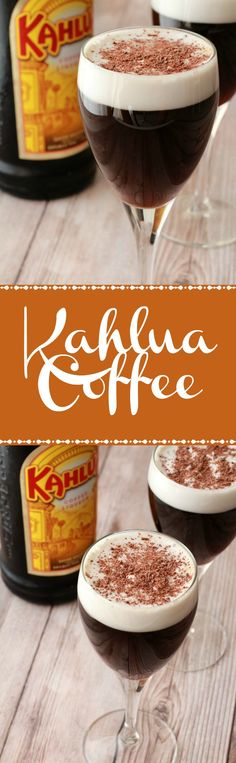 Kahlua Coffee - just like an Irish coffee but using Kahlua instead of whiskey. A perfect after-dinner drink! Vegan | Vegan Drinks | Vegan Recipes