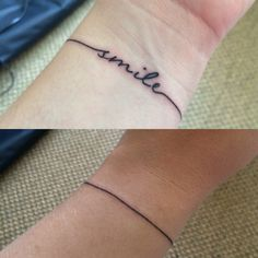 Smile bracelet style mental health tattoo. Done by Meg's Tattoos, Castle St…