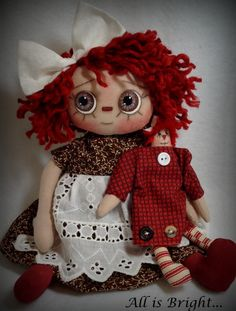 Raggedy Doll  Patricia with Raggedy Annie by Allisbright on Etsy, $35.00