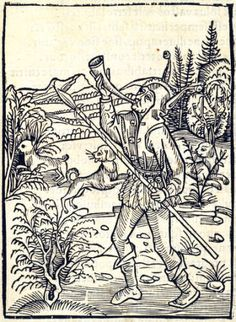 """""""Of Serving Two Masters"""". This woodcut is attributed to the artist the Haintz-Nar-Meister. It is an illustration from the book Stultifera navis (Ship of Fools) by Sebastian Brant, published by Johann Bergmann in Basel in 1498."""