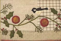 Primitive Folk Art Wool Applique Pattern:  PINE AND HOLLY Table Runner