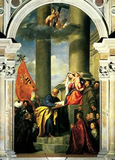 The painting depicts the Virgin Mary and Jesus on the top of a raised platform. People are kneeling down to Jesus and Mary.
