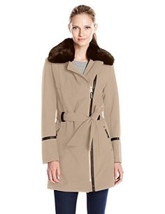 Women's Casual Jackets - Via Spiga Womens Asymmetrical Zip Front Soft Shell Coat with Removable Faux Fur -- Details can be found by clicking on the image.