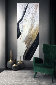 Large abstract painting as the main point of the stylish interior of the modern living room. Design and Style Inspiration for your home. Spa Design, Wall Design, House Design, Design Ideas, Living Room Designs, Living Room Decor, Stil Inspiration, Home Interior Design, Stylish Interior