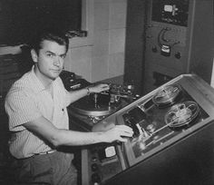 Sam Philips in the control room at Sun Records studio. Around 1956.