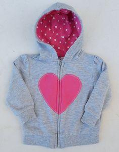 Carter's Girls Gray Pink Heart ZIpper Hoodie Sweater Sz 6 Months EUC #Carters #HoodieSweater #Everyday