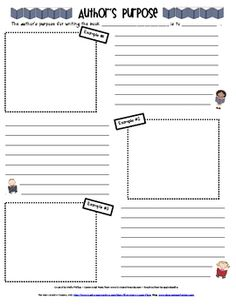 You can use this author's purpose sheet in a variety of ways.I use it as an individual project sheet for students to complete at a. Reading Workshop, Reading Skills, Teaching Reading, Reading Response, School Tool, School Fun, School Stuff, School Ideas, First Grade Writing