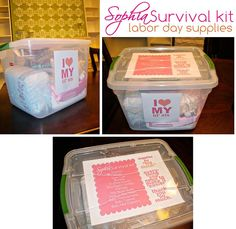 "Love this- ""Labor Day Supplies"": Build a supply kit during the party (tell guests to bring baby and mommy a gift)"