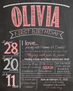 Baby's First Birthday Chalkboard Sign 16x20 For a by MMasonDesigns, $25.00