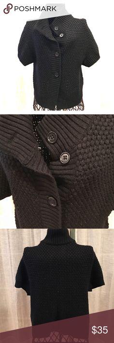 Banana Republic knit sweater Black short sleeve Banana Republic knit sweater with loose high neck. Super comfortable. Banana Republic Sweaters Cardigans