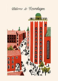 COPENHAGEN TRAVEL POSTER Denmark Travel by EncorePrintSociety