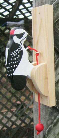Downy woodpecker door knocker. by NatureWoodcraft on Etsy