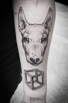 Bull terrier and impossible cube tattoos