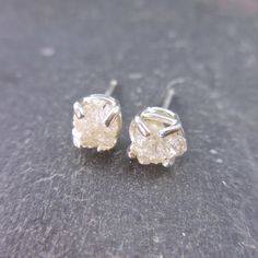 Rough Diamond Earrings Raw Diamond necklace  Icy by JewelLUXE