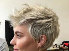 Amazing Pixie Cuts for Fine Hair Long pixie with feathered layers, looks really pretty also fits almost every face shape! Of course very short pixie cuts can also be preferred for fine hair. Asymmetrical Bob Haircuts, Very Short Haircuts, Short Hairstyles For Women, Pixie Haircut Styles, Pixie Hairstyles, Short Hair Cuts, Short Hair Styles, Blonde Pixie Hair, Haircut For Thick Hair