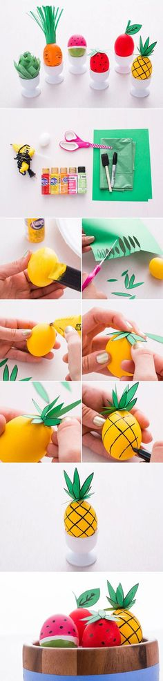 Create fruit + veggie-inspired Easter eggs with this DIY.