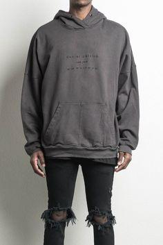 heavy hoodie NY / faded black  designer streetwear heavyweight hoodie