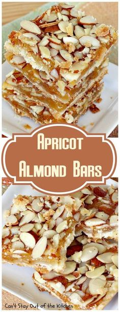 Apricot Almond Bars Rich, decadent and spectacular bar-type cookie with a crust layer, an apricot filling and topped with lots of sliced almonds. Great for holiday baking or as a dessert any time of the year. Just Desserts, Delicious Desserts, Dessert Recipes, Dinner Recipes, Bar Recipes, Health Desserts, Cookie Recipes, Apricot Recipes, Cake