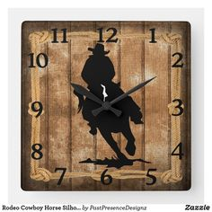 Rodeo Cowboy Horse Silhouette Square Wall Clock Horse Silhouette, Cowboy Horse, Wall Clocks, Hand Coloring, Rodeo, Horses, Display, Artwork, Prints