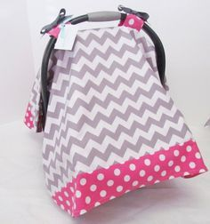 Infant Car Seat Cover, Baby Canopy, Grey and White Chevron and Hot Pink Polka Dot on Etsy, $40.00